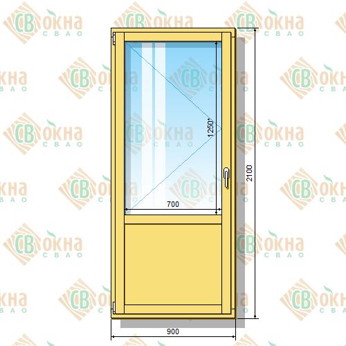 Деревянная балконная дверь со стеклопакетом 2100 х 900 мм (в проем 2100 х 900 мм) Бл и зашитым низом
