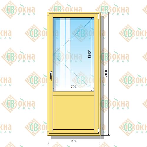 Деревянная балконная дверь со стеклопакетом 2100 х 900 мм (в проем 2100 х 900 мм) Бп и зашитым низом