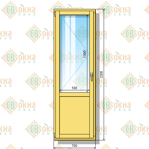 Деревянная балконная дверь со стеклопакетом 2200 х 700 мм (в проем 2200 х 700 мм) Бл и зашитым низом