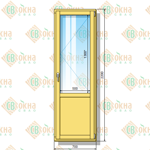 Деревянная балконная дверь со стеклопакетом 2200 х 700 мм (в проем 2200 х 700 мм) Бп и зашитым низом