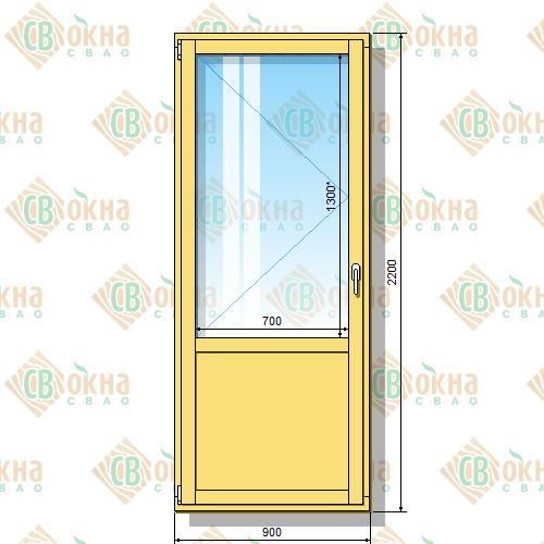 Деревянная балконная дверь со стеклопакетом 2200 х 900 мм (в проем 2200 х 900 мм) Бл и зашитым низом