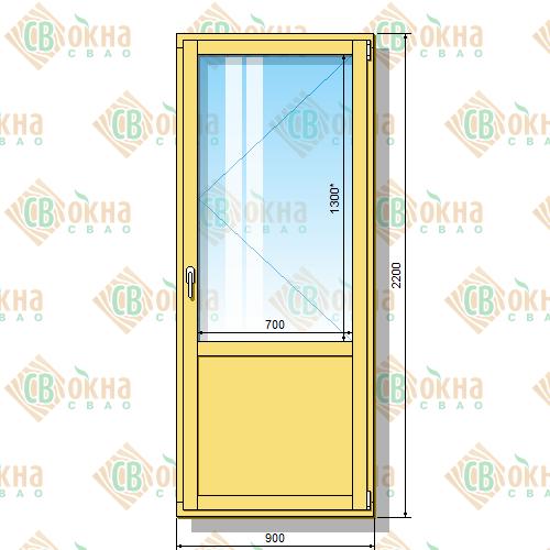 Деревянная балконная дверь со стеклопакетом 2200 х 900 мм (в проем 2200 х 900 мм) Бп и зашитым низом