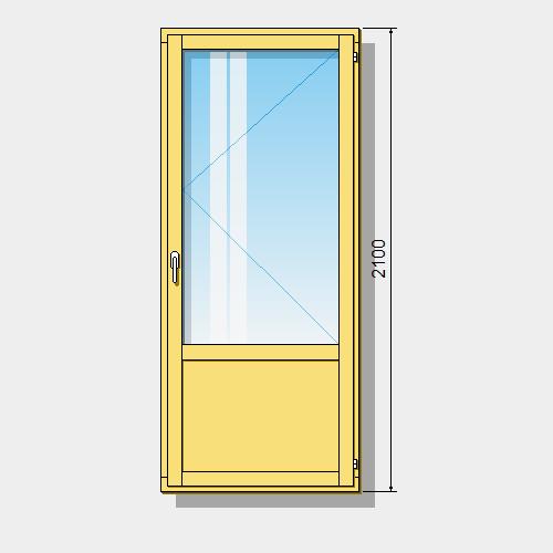 стандартные балконные двери высотой 2100 мм из сосны