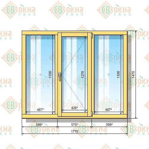 Деревянное окно со стеклопакетом 1470 х 1770 мм (в проем 1500 х 1800 мм) ГПпГ трехстворчатое