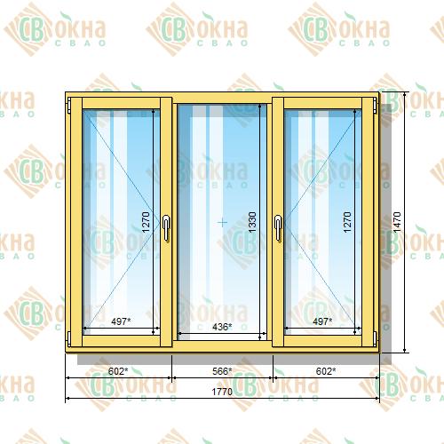 Деревянное окно со стеклопакетом 1470 х 1770 мм (в проем 1500 х 1800 мм) ПлГПп трехстворчатое