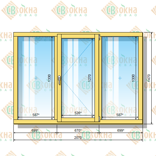 Деревянное окно со стеклопакетом 1470 х 2070 мм (в проем 1500 х 2100 мм) ГПпГ трехстворчатое