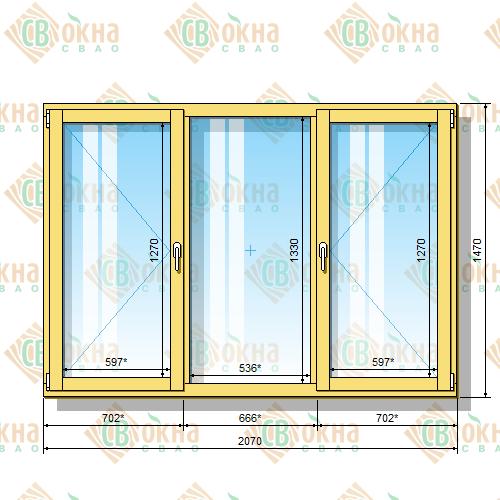 Деревянное окно со стеклопакетом 1470 х 2070 мм (в проем 1500 х 2100 мм) ПлГПп трехстворчатое